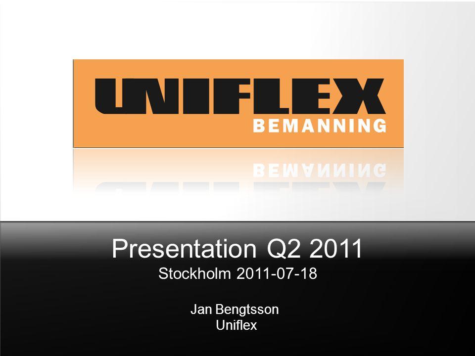 Presentation Q2 2011 Stockholm 2011-07-18 Jan Bengtsson Uniflex