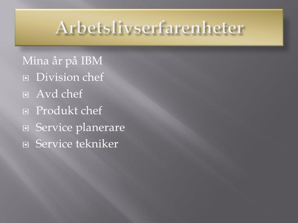 Mina år på IBM  Division chef  Avd chef  Produkt chef  Service planerare  Service tekniker