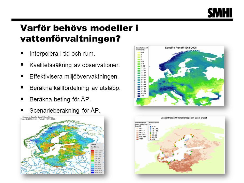 Varför behövs modeller i vattenförvaltningen. Interpolera i tid och rum.