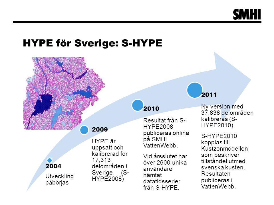 HYPE för Sverige: S-HYPE 2004 Utveckling påbörjas 2009 HYPE är uppsatt och kalibrerad för 17,313 delområden i Sverige (S- HYPE2008) 2010 Resultat från S- HYPE2008 publiceras online på SMHI VattenWebb.