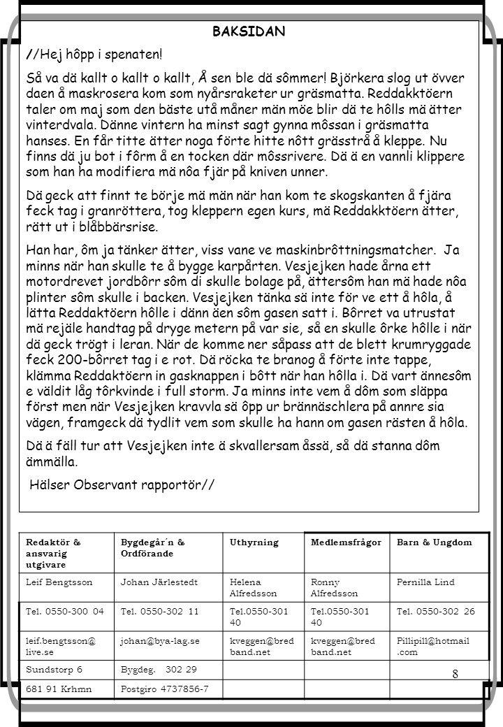 8 Redaktör & ansvarig utgivare Bygdegår´n & Ordförande UthyrningMedlemsfrågorBarn & Ungdom Leif BengtssonJohan JärlestedtHelena Alfredsson Ronny Alfredsson Pernilla Lind Tel.