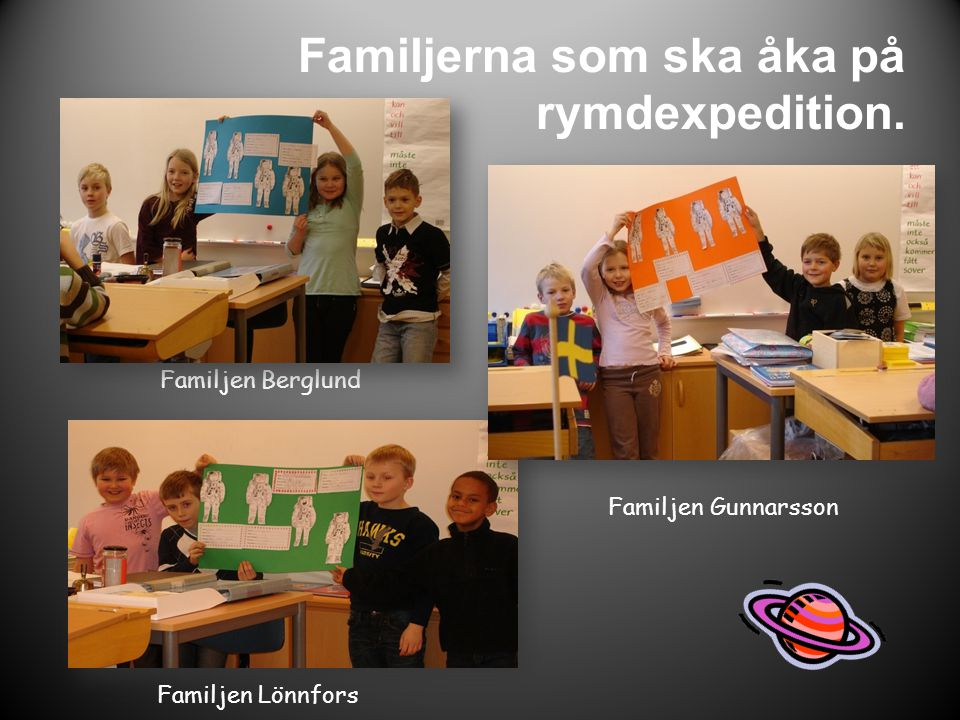 Familjen Gunnarsson Familjen Berglund Familjen Lönnfors Familjerna som ska åka på rymdexpedition.