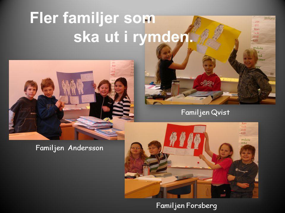 Familjen Andersson Familjen Qvist Fler familjer som ska ut i rymden. Familjen Forsberg