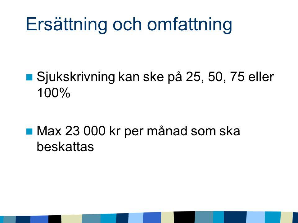 Ersättning och omfattning Sjukskrivning kan ske på 25, 50, 75 eller 100% Max 23 000 kr per månad som ska beskattas