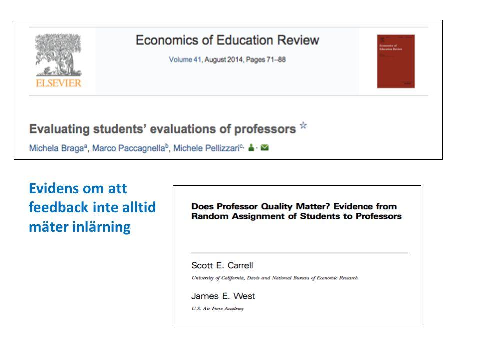 Evidens om att feedback inte alltid mäter inlärning