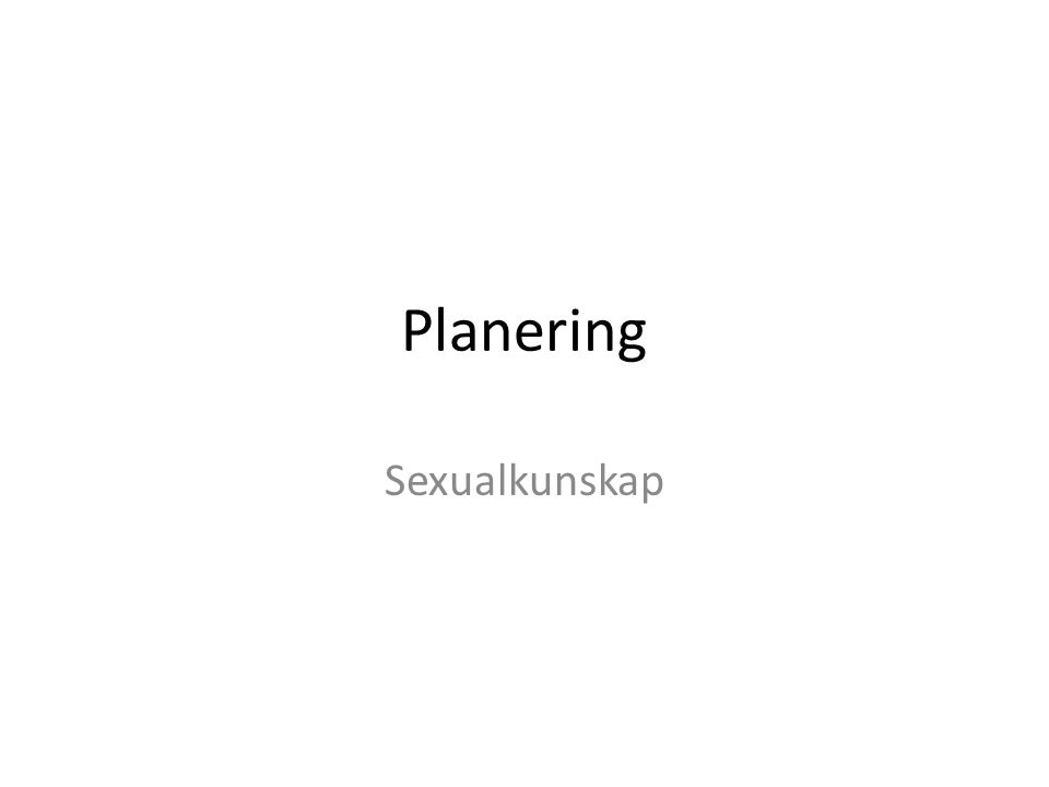 Planering Sexualkunskap