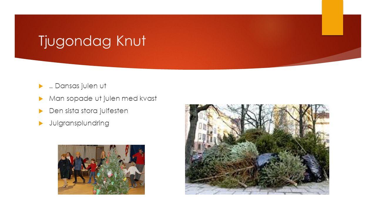 Tjugondag Knut .. Dansas julen ut  Man sopade ut julen med kvast  Den sista stora julfesten  Julgransplundring