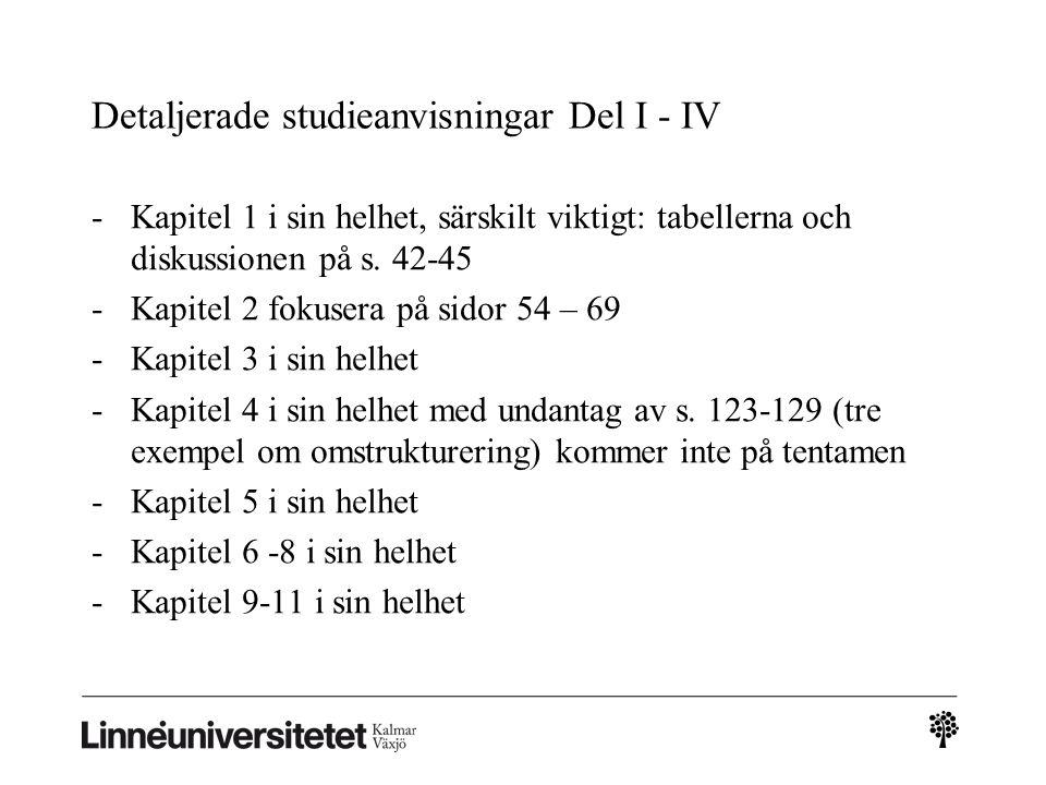 Detaljerade studieanvisningar Del I - IV -Kapitel 1 i sin helhet, särskilt viktigt: tabellerna och diskussionen på s.