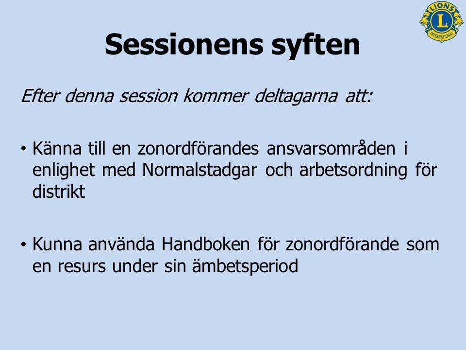 Sessionens syften Efter denna session kommer deltagarna att: Känna till en zonordförandes ansvarsområden i enlighet med Normalstadgar och arbetsordnin