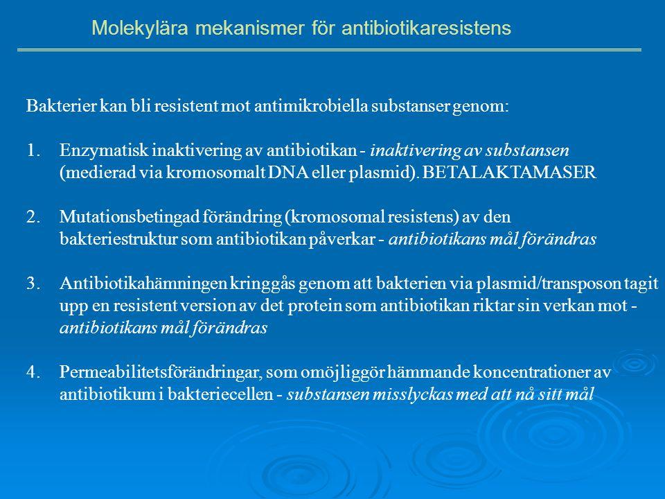 Bakterier kan bli resistent mot antimikrobiella substanser genom: 1.Enzymatisk inaktivering av antibiotikan - inaktivering av substansen (medierad via