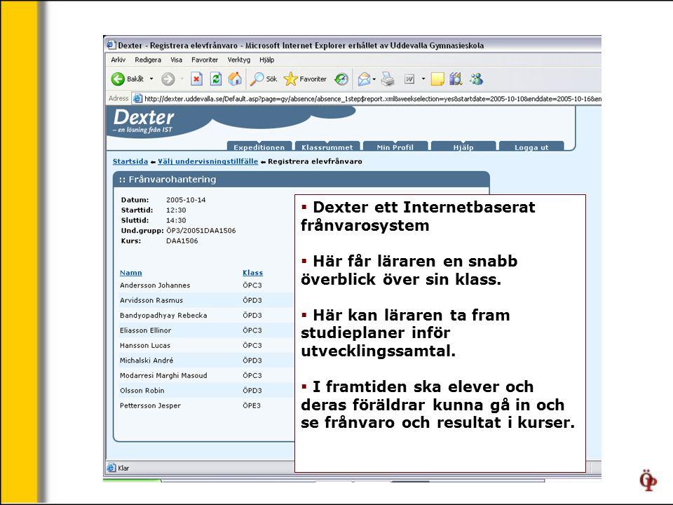  Dexter ett Internetbaserat frånvarosystem  Här får läraren en snabb överblick över sin klass.