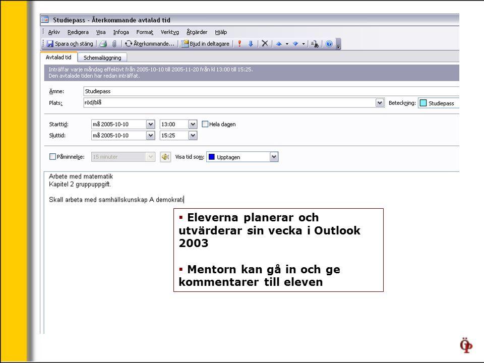  Eleverna planerar och utvärderar sin vecka i Outlook 2003  Mentorn kan gå in och ge kommentarer till eleven