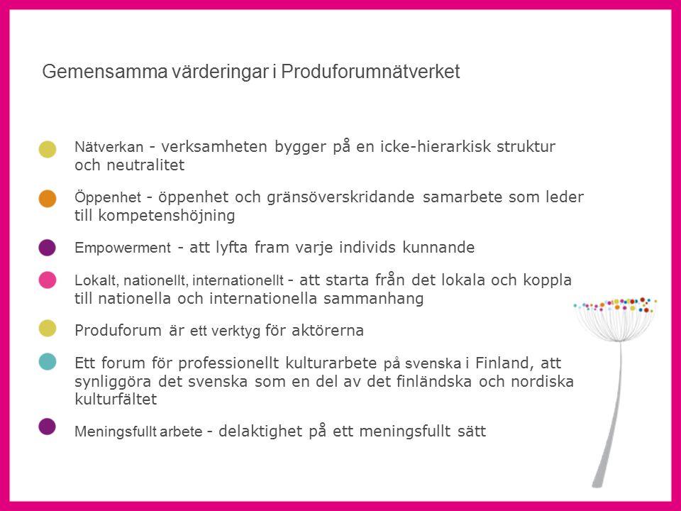 6 Nätverkan - verksamheten bygger på en icke-hierarkisk struktur och neutralitet Öppenhet - öppenhet och gränsöverskridande samarbete som leder till kompetenshöjning Empowerment - att lyfta fram varje individs kunnande Lokalt, nationellt, internationellt - att starta från det lokala och koppla till nationella och internationella sammanhang Produforum är ett verktyg för aktörerna Ett forum för professionellt kulturarbete på svenska i Finland, att synliggöra det svenska som en del av det finländska och nordiska kulturfältet Meningsfullt arbete - delaktighet på ett meningsfullt sätt Gemensamma värderingar i Produforumnätverket