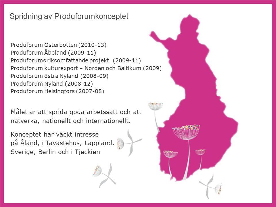 8 Spridning av Produforumkonceptet Produforum Österbotten (2010-13) Produforum Åboland (2009-11) Produforums riksomfattande projekt (2009-11) Produforum kulturexport – Norden och Baltikum (2009) Produforum östra Nyland (2008-09) Produforum Nyland (2008-12) Produforum Helsingfors (2007-08) Målet är att sprida goda arbetssätt och att nätverka, nationellt och internationellt.