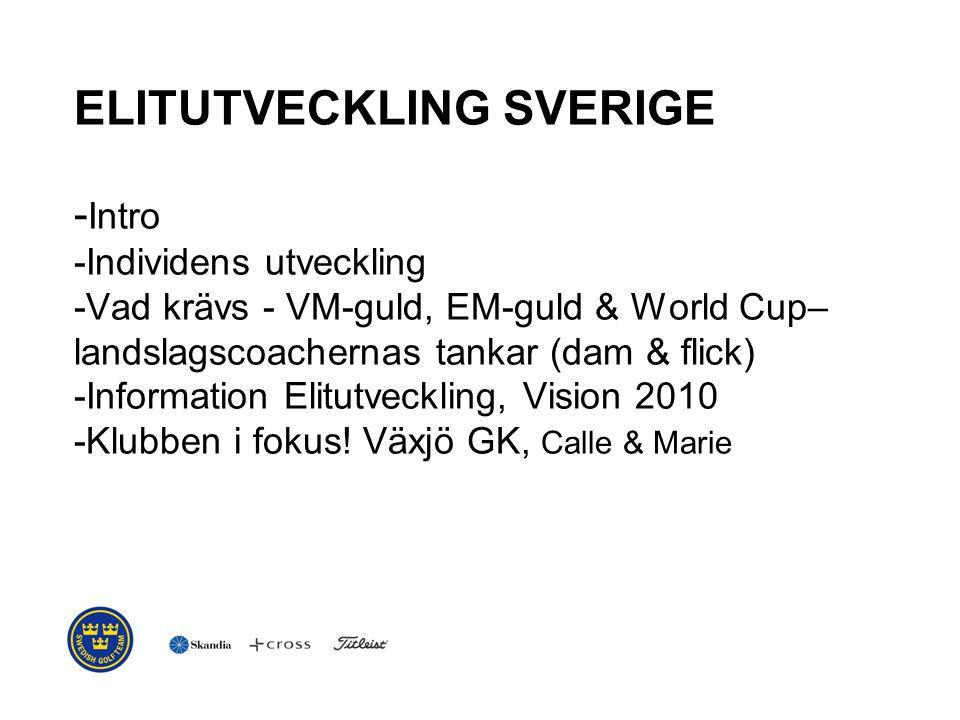 ELITUTVECKLING SVERIGE - Intro -Individens utveckling -Vad krävs - VM-guld, EM-guld & World Cup– landslagscoachernas tankar (dam & flick) -Information Elitutveckling, Vision 2010 -Klubben i fokus.