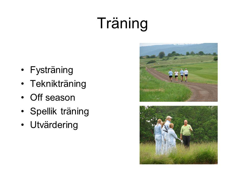 Träning Fysträning Teknikträning Off season Spellik träning Utvärdering