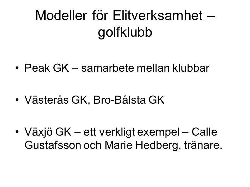 Modeller för Elitverksamhet – golfklubb Peak GK – samarbete mellan klubbar Västerås GK, Bro-Bålsta GK Växjö GK – ett verkligt exempel – Calle Gustafsson och Marie Hedberg, tränare.
