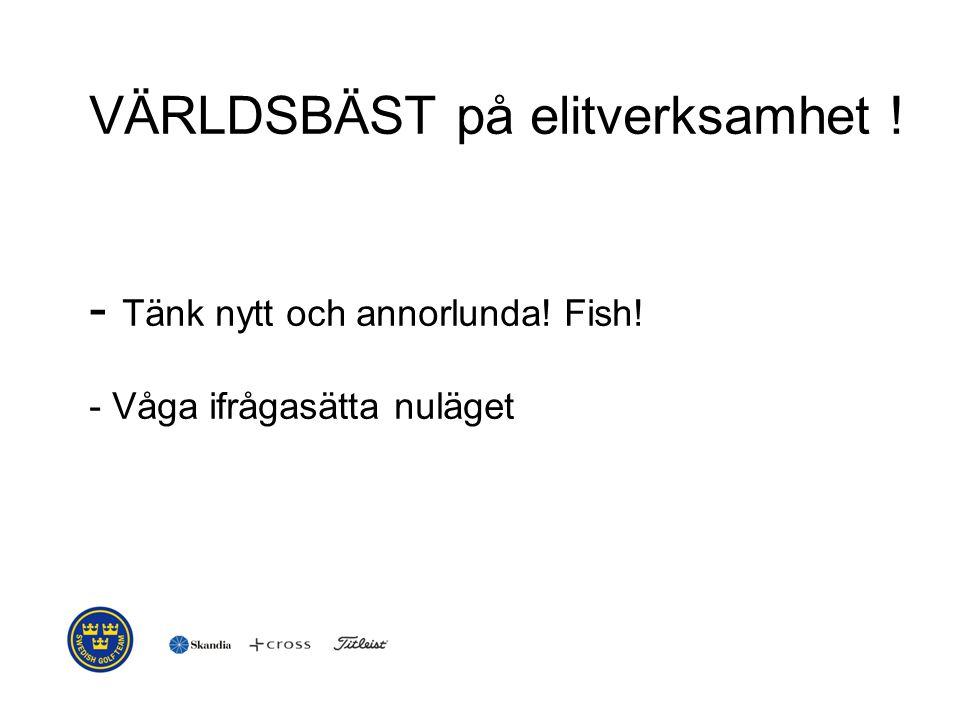 VÄRLDSBÄST på elitverksamhet ! - Tänk nytt och annorlunda! Fish! - Våga ifrågasätta nuläget