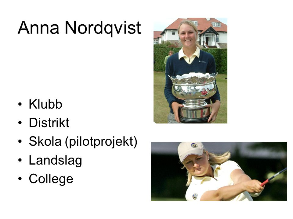 Anna Nordqvist Klubb Distrikt Skola (pilotprojekt) Landslag College