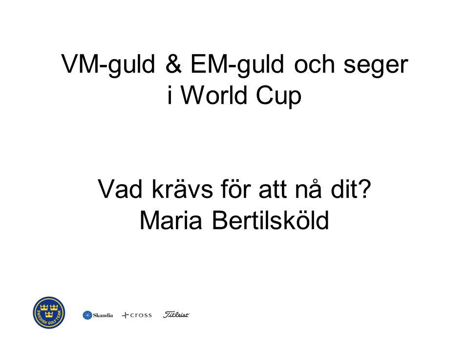 VM-guld & EM-guld och seger i World Cup Vad krävs för att nå dit? Maria Bertilsköld