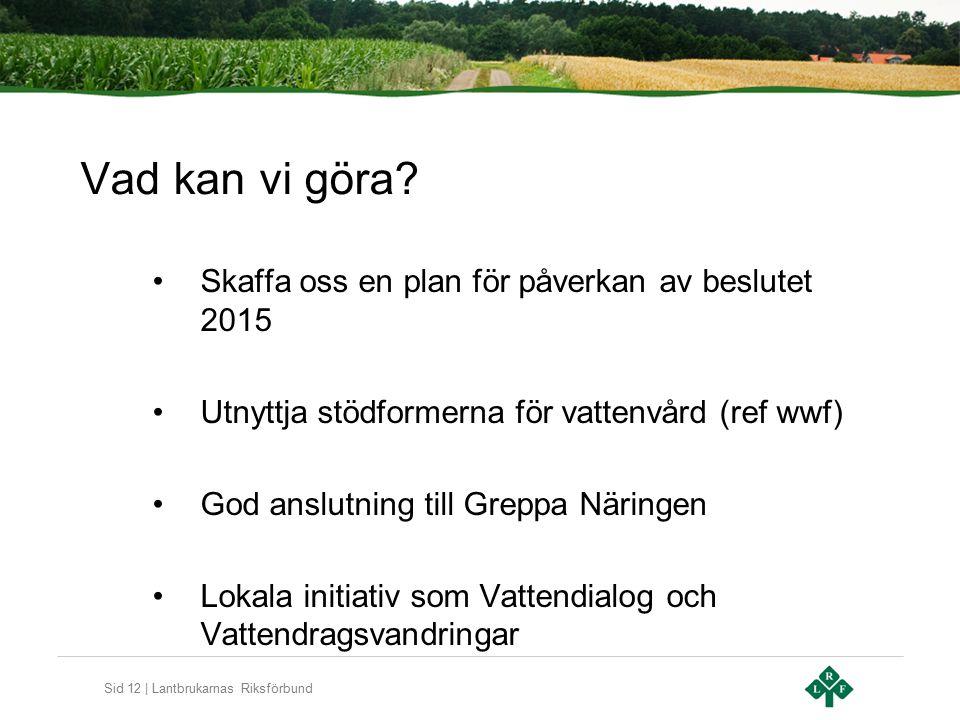 Sid 12 | Lantbrukarnas Riksförbund Vad kan vi göra? Skaffa oss en plan för påverkan av beslutet 2015 Utnyttja stödformerna för vattenvård (ref wwf) Go