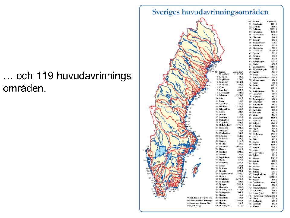 … och 119 huvudavrinnings områden.