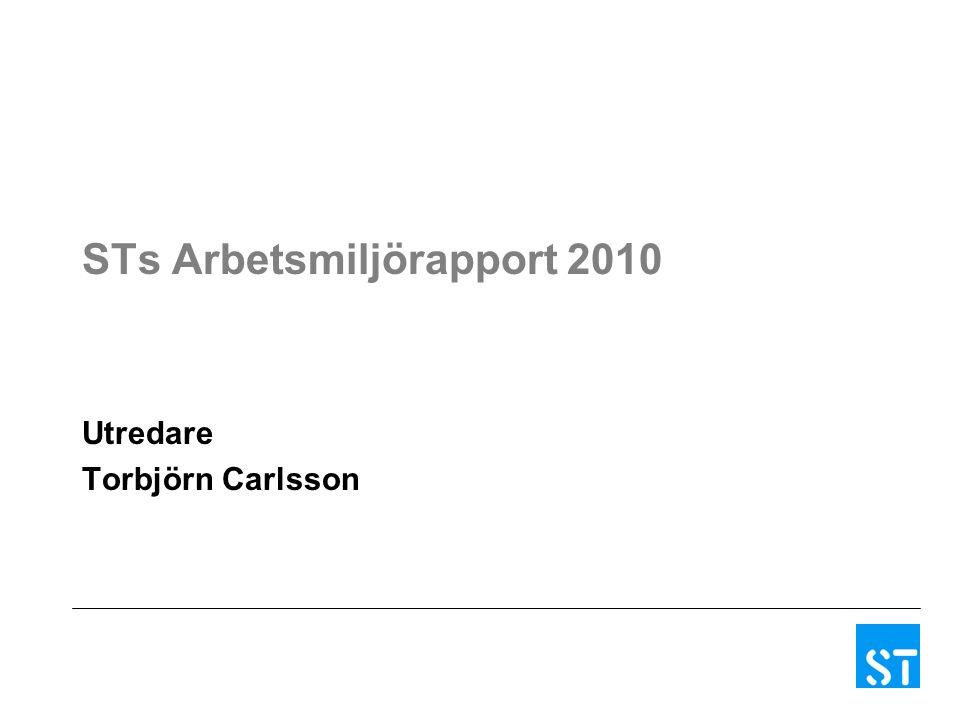 STs Arbetsmiljörapport 2010 Utredare Torbjörn Carlsson