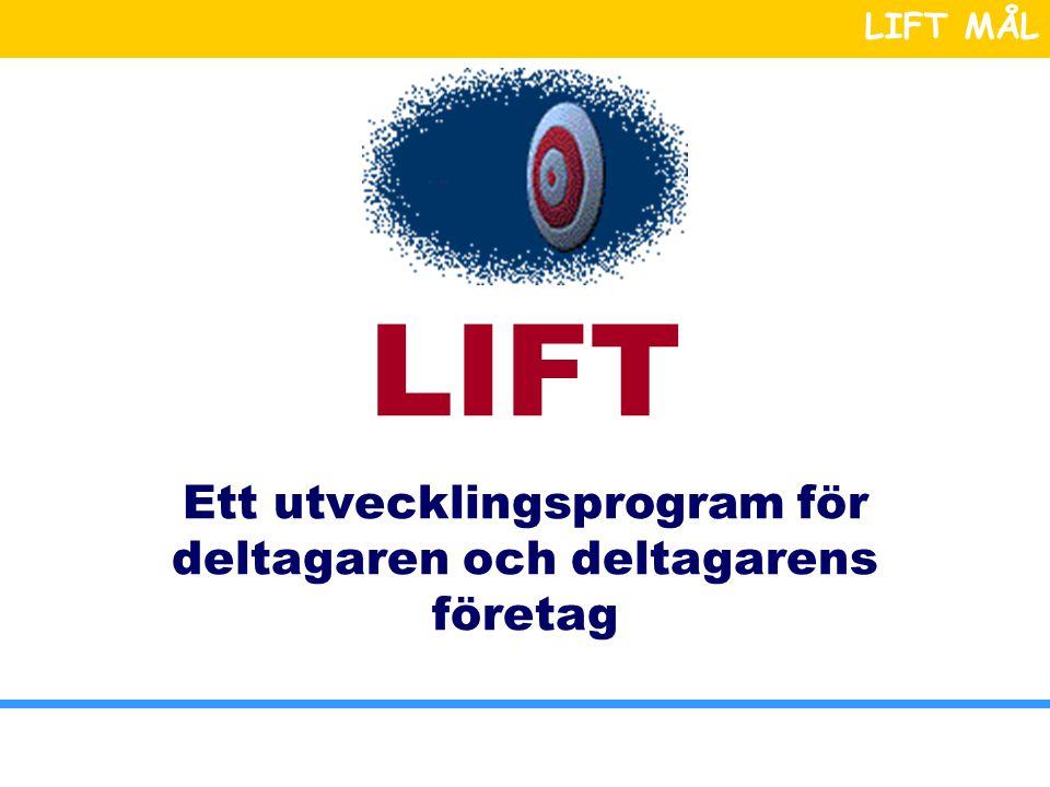 LIFT MÅL LIFT Ett utvecklingsprogram för deltagaren och deltagarens företag