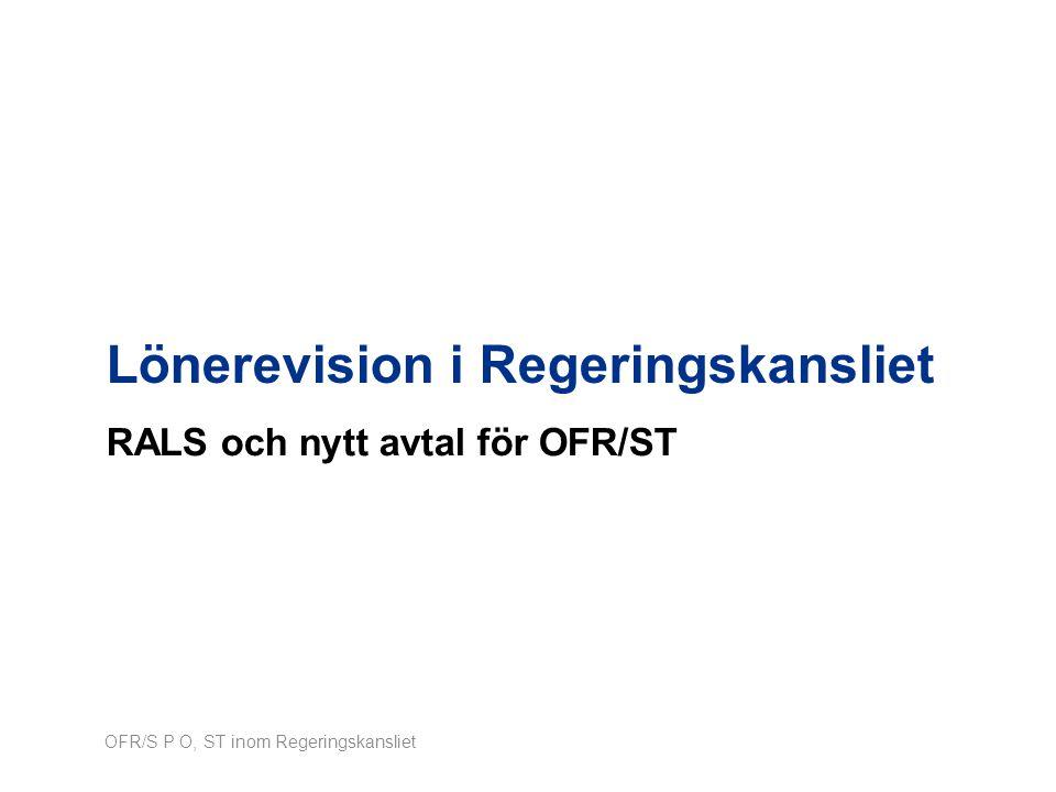 Lönerevision i Regeringskansliet RALS och nytt avtal för OFR/ST OFR/S P O, ST inom Regeringskansliet