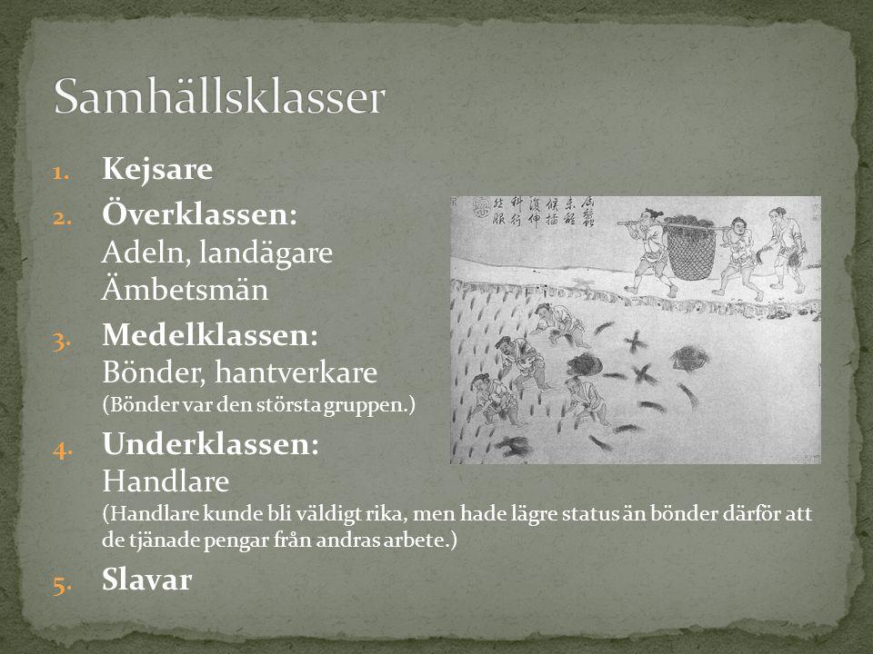 1.Kejsare 2. Överklassen: Adeln, landägare Ämbetsmän 3.