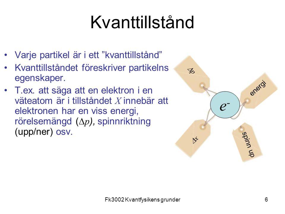 Fk3002 Kvantfysikens grunder27 Formelsamling
