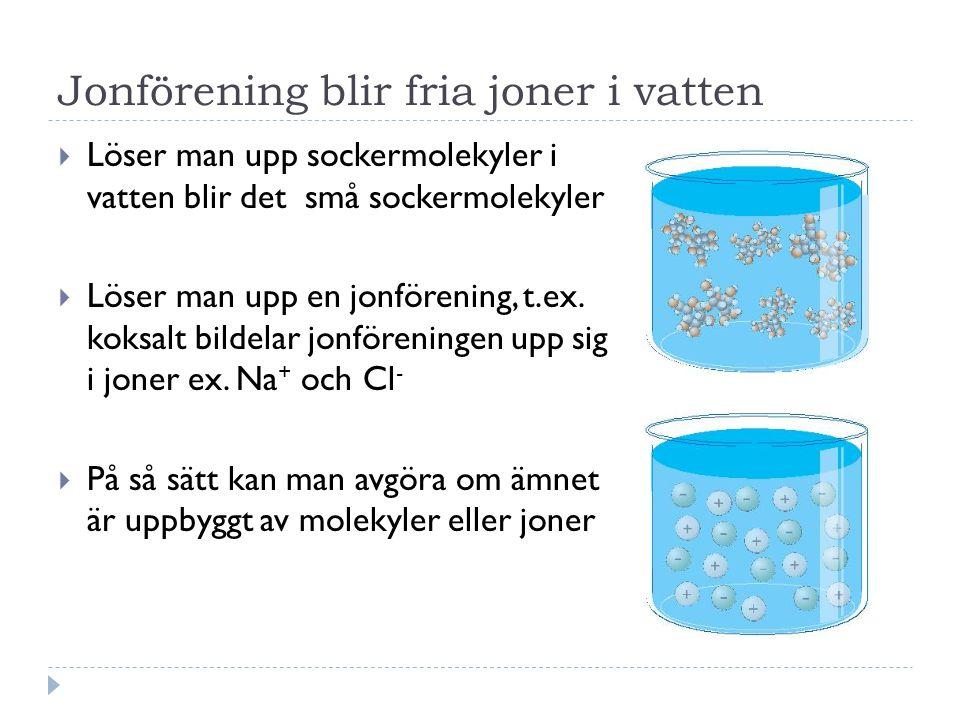Jonförening blir fria joner i vatten  Löser man upp sockermolekyler i vatten blir det små sockermolekyler  Löser man upp en jonförening, t.ex.