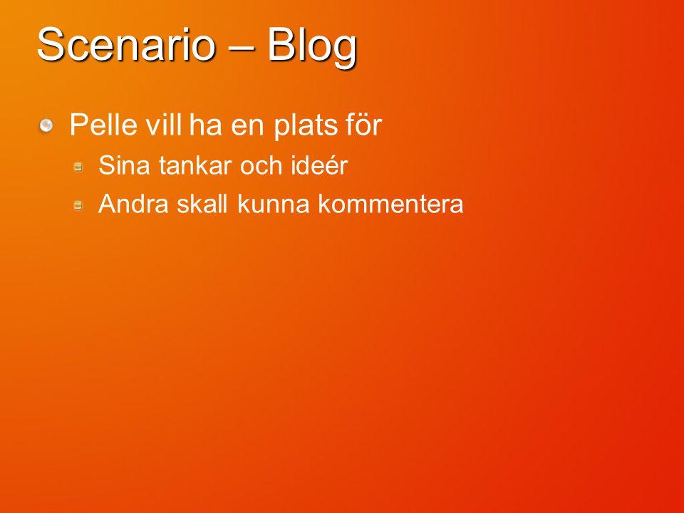 Scenario – Blog Pelle vill ha en plats för Sina tankar och ideér Andra skall kunna kommentera