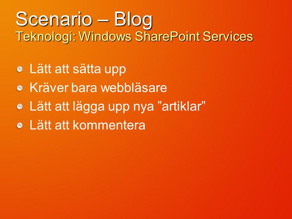 Scenario – Blog Teknologi: Windows SharePoint Services Lätt att sätta upp Kräver bara webbläsare Lätt att lägga upp nya artiklar Lätt att kommentera