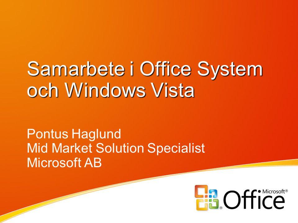 Samarbete i Office System och Windows Vista Pontus Haglund Mid Market Solution Specialist Microsoft AB