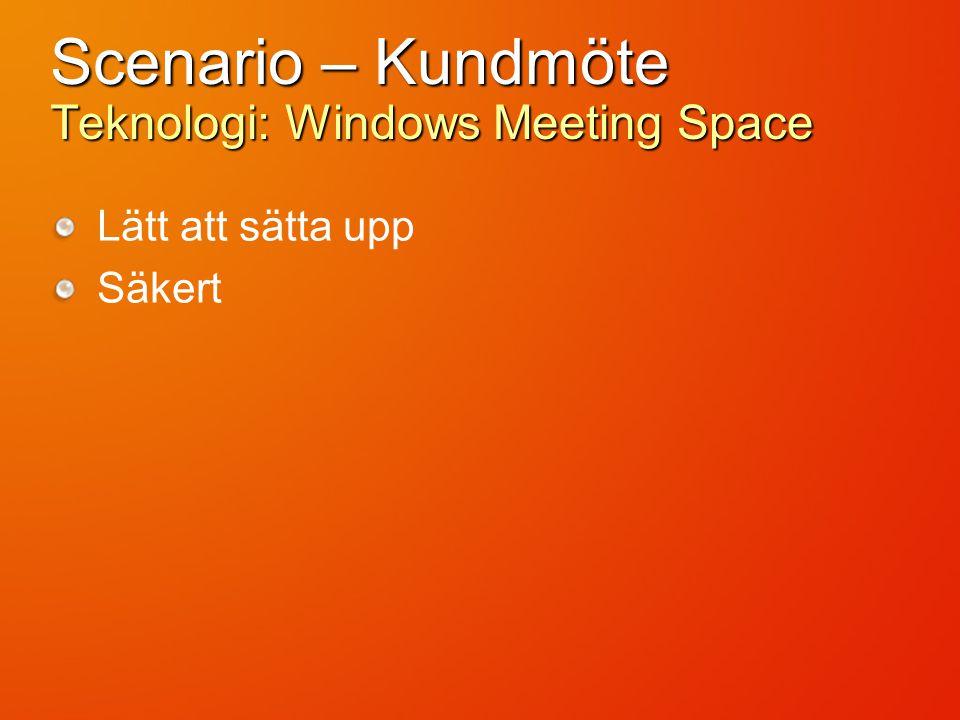 Scenario – Kundmöte Teknologi: Windows Meeting Space Lätt att sätta upp Säkert