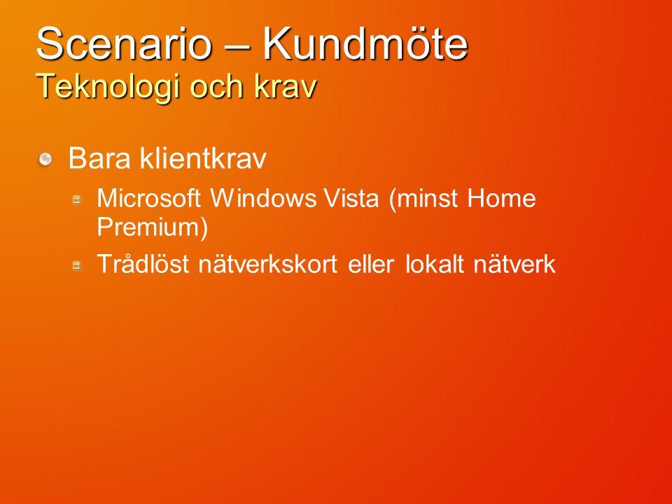 Scenario – Kundmöte Teknologi och krav Bara klientkrav Microsoft Windows Vista (minst Home Premium) Trådlöst nätverkskort eller lokalt nätverk