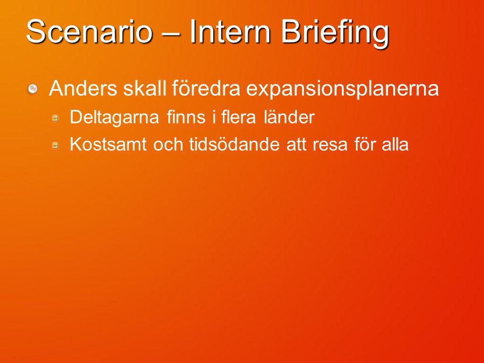 Scenario – Intern Briefing Anders skall föredra expansionsplanerna Deltagarna finns i flera länder Kostsamt och tidsödande att resa för alla