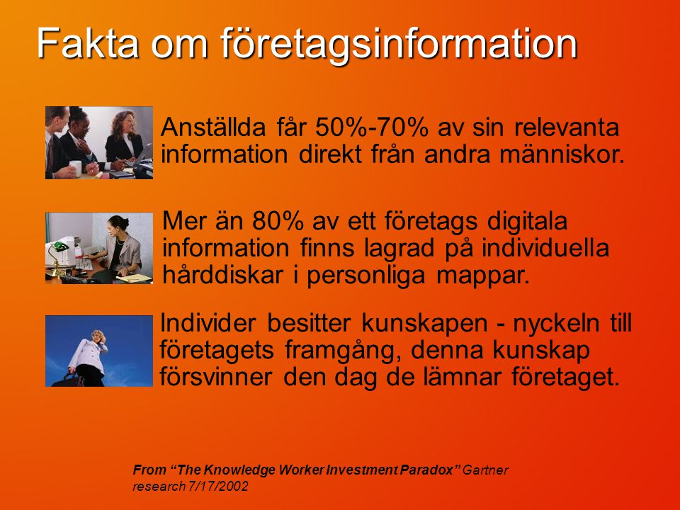 Fakta om företagsinformation From The Knowledge Worker Investment Paradox Gartner research 7/17/2002 Mer än 80% av ett företags digitala information finns lagrad på individuella hårddiskar i personliga mappar.
