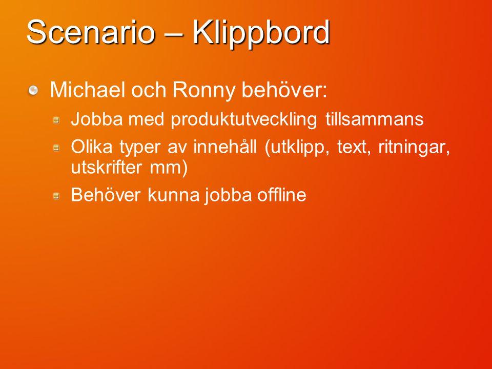 Scenario – Klippbord Michael och Ronny behöver: Jobba med produktutveckling tillsammans Olika typer av innehåll (utklipp, text, ritningar, utskrifter mm) Behöver kunna jobba offline