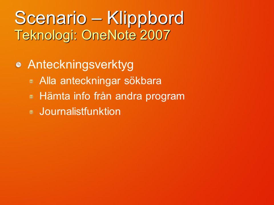 Scenario – Klippbord Teknologi: OneNote 2007 Anteckningsverktyg Alla anteckningar sökbara Hämta info från andra program Journalistfunktion