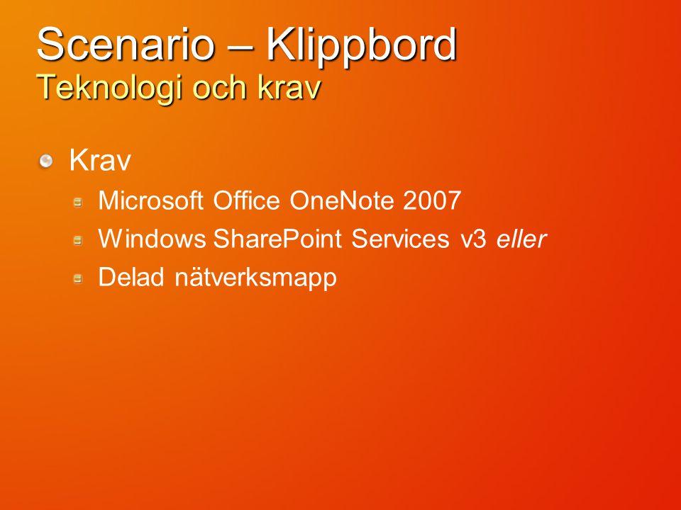 Scenario – Klippbord Teknologi och krav Krav Microsoft Office OneNote 2007 Windows SharePoint Services v3 eller Delad nätverksmapp