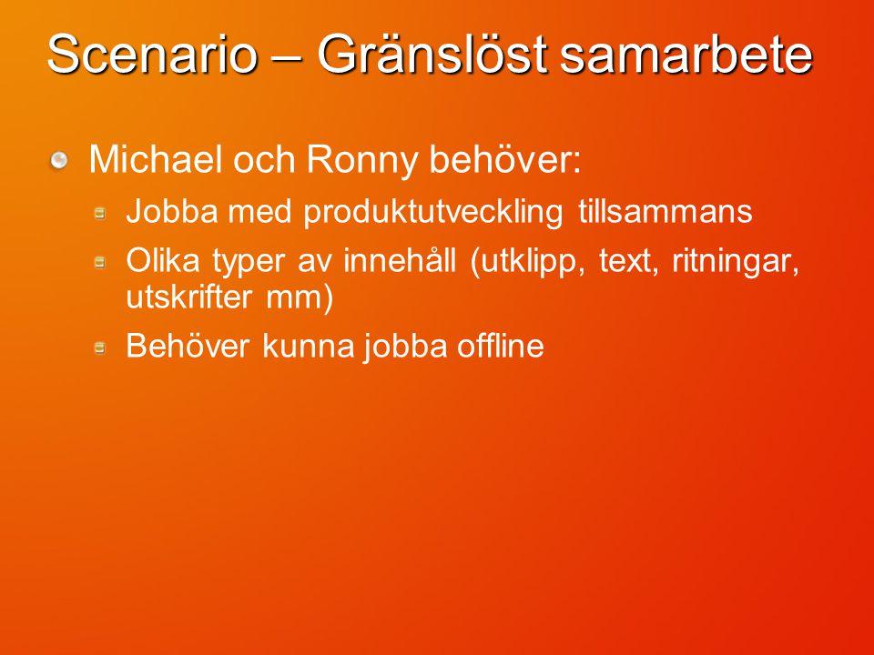 Scenario – Gränslöst samarbete Michael och Ronny behöver: Jobba med produktutveckling tillsammans Olika typer av innehåll (utklipp, text, ritningar, utskrifter mm) Behöver kunna jobba offline
