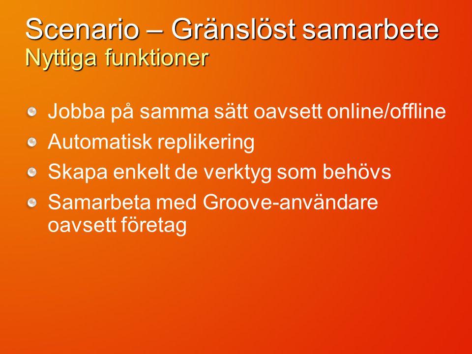 Scenario – Gränslöst samarbete Nyttiga funktioner Jobba på samma sätt oavsett online/offline Automatisk replikering Skapa enkelt de verktyg som behövs Samarbeta med Groove-användare oavsett företag