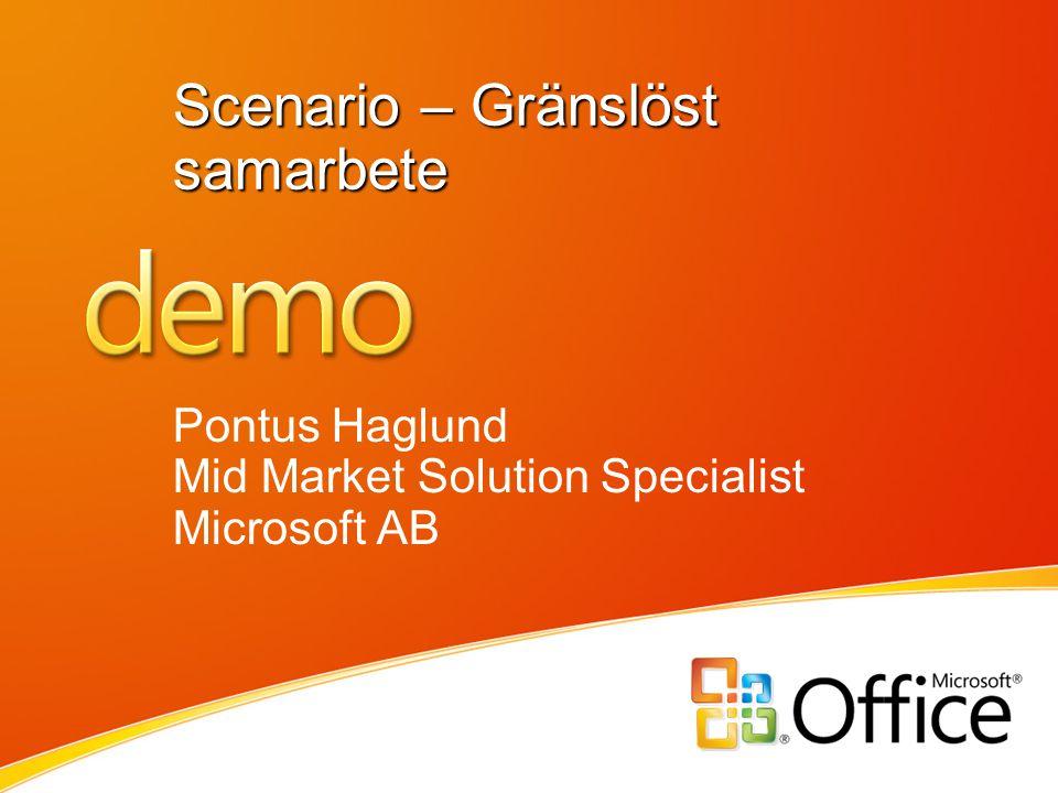 Scenario – Gränslöst samarbete Pontus Haglund Mid Market Solution Specialist Microsoft AB