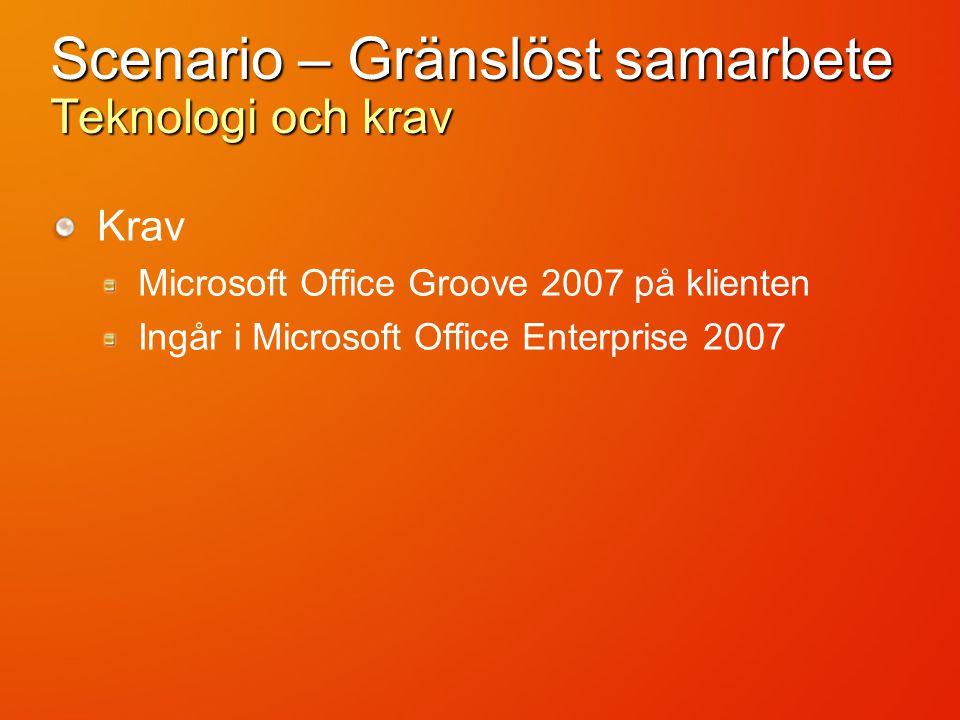 Scenario – Gränslöst samarbete Teknologi och krav Krav Microsoft Office Groove 2007 på klienten Ingår i Microsoft Office Enterprise 2007