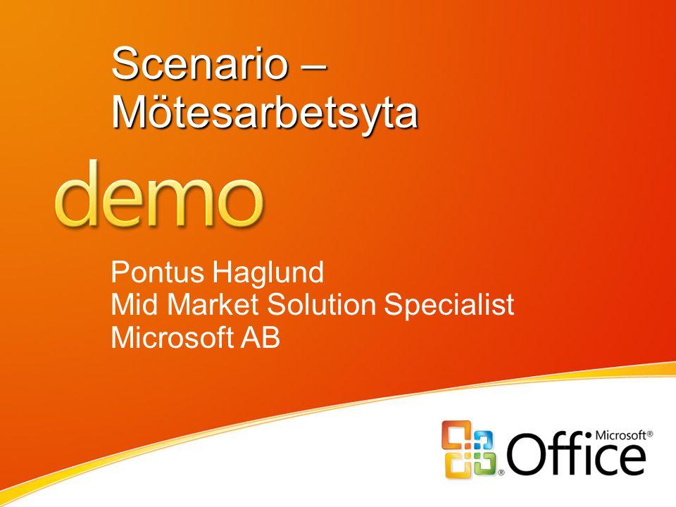 Scenario – Mötesarbetsyta Pontus Haglund Mid Market Solution Specialist Microsoft AB