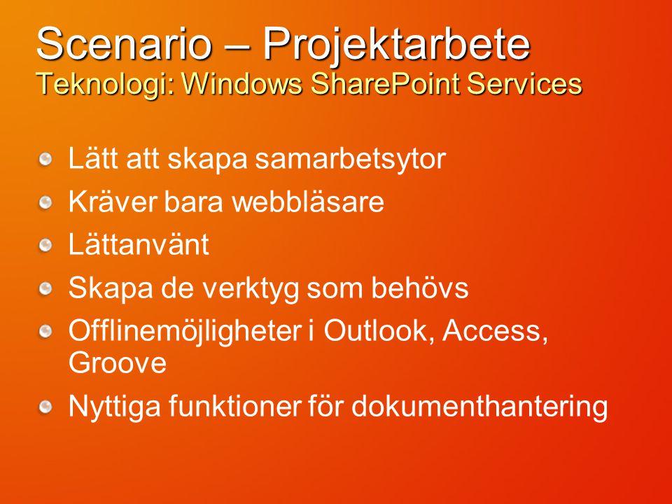 Scenario – Projektarbete Teknologi: Windows SharePoint Services Lätt att skapa samarbetsytor Kräver bara webbläsare Lättanvänt Skapa de verktyg som behövs Offlinemöjligheter i Outlook, Access, Groove Nyttiga funktioner för dokumenthantering