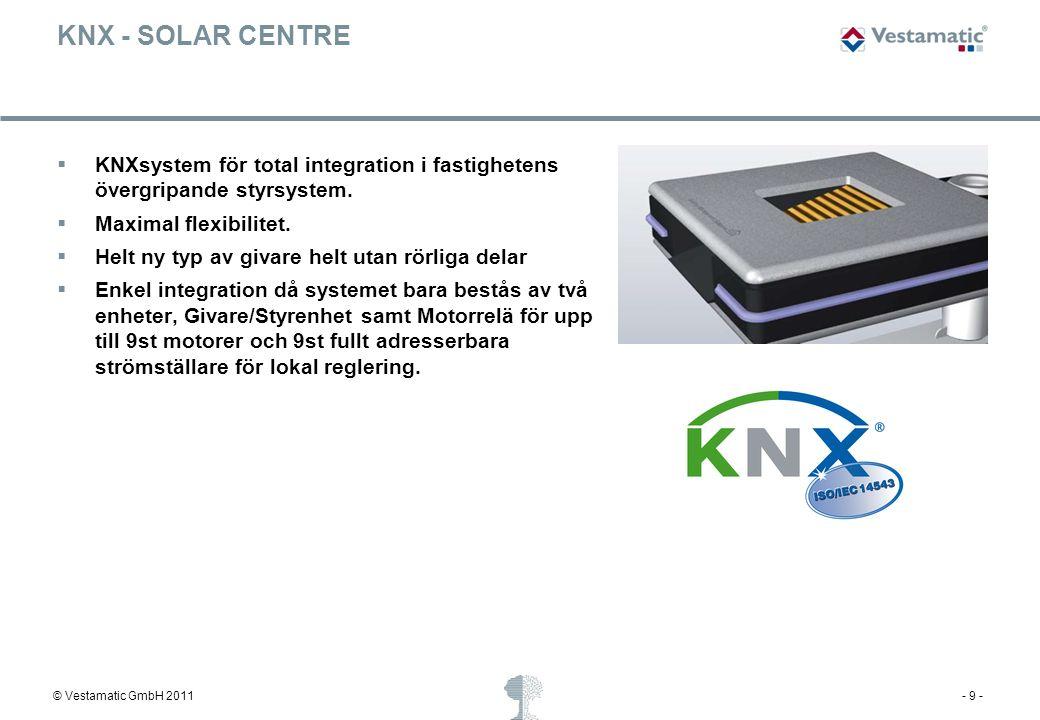 © Vestamatic GmbH 2011- 9 - KNX - SOLAR CENTRE  KNXsystem för total integration i fastighetens övergripande styrsystem.  Maximal flexibilitet.  Hel