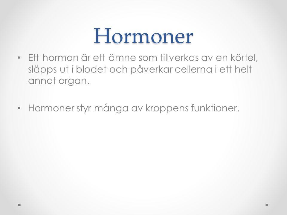 Körtlar som producerar hormon Hypofysen o i hjärnan, chef över hormonsystemet.